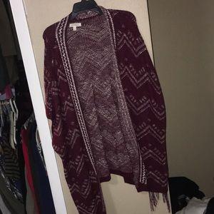 Sweaters - Maroon poncho